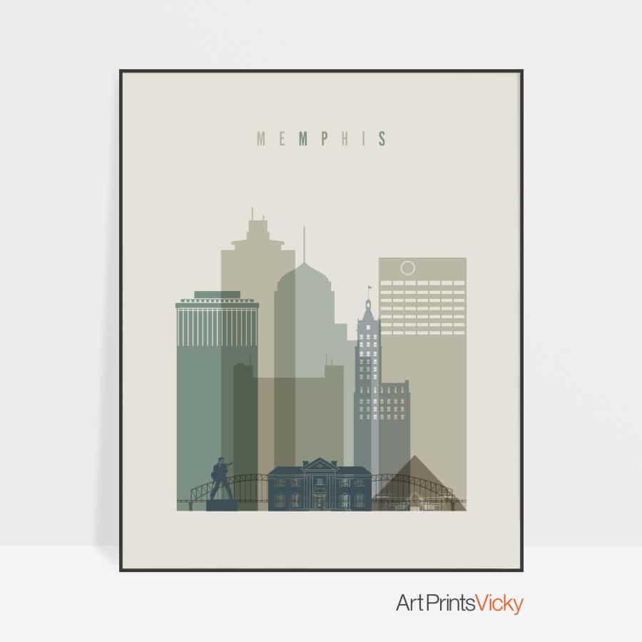 Memphis print skyline earth tones 1