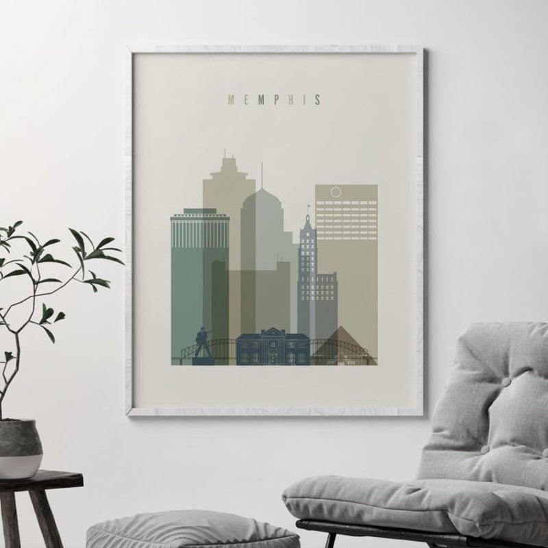 Memphis print skyline earth tones 1 second