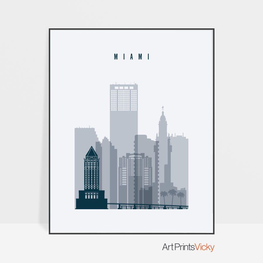 Miami skyline poster grey blue