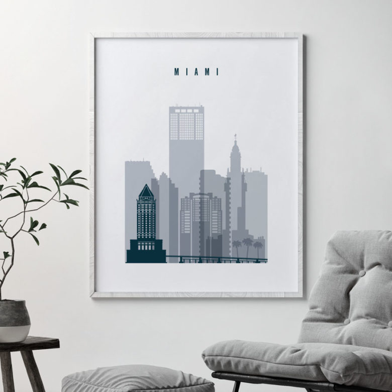 Miami skyline poster grey blue second
