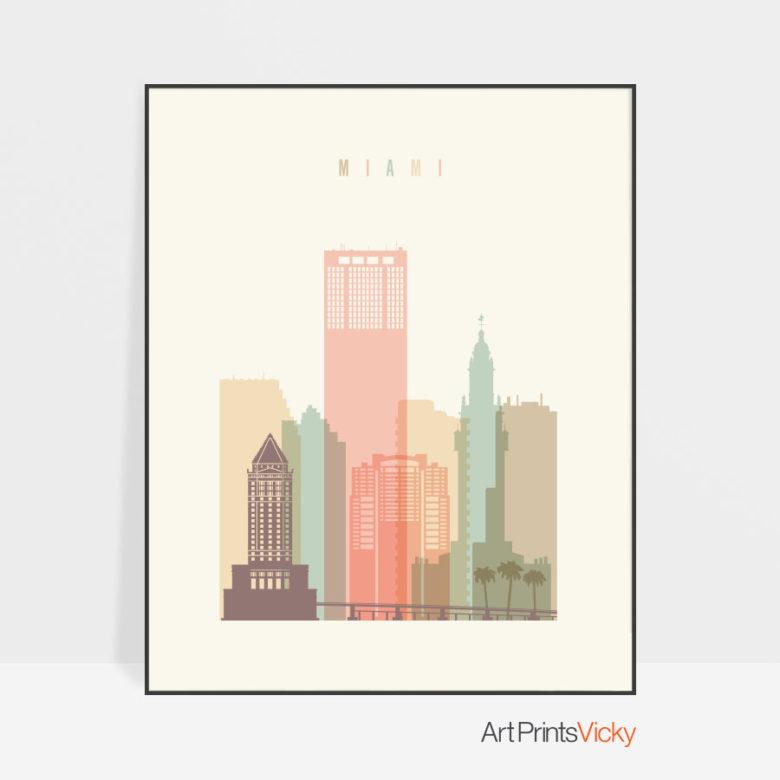 Miami art print skyline pastel cream