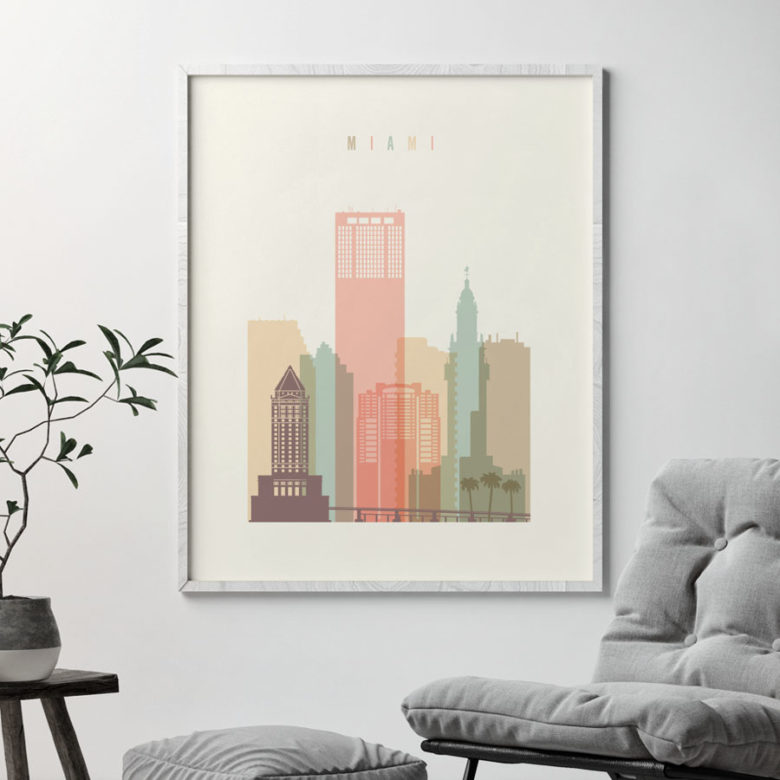 Miami art print skyline pastel cream second