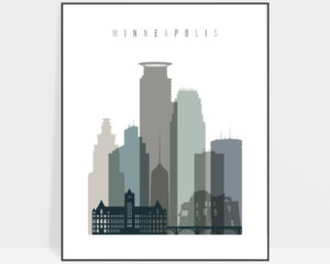Minneapolis art print skyline earth tones 4