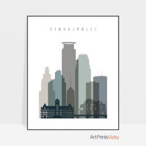 Minneapolis art print skyline earth tones 4