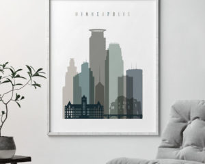 Minneapolis art print skyline earth tones 4 second