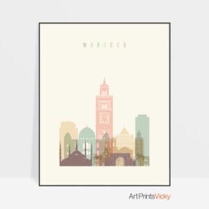 Morocco art print skyline pastel cream