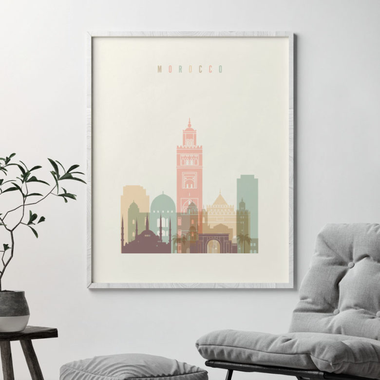Morocco art print skyline pastel cream