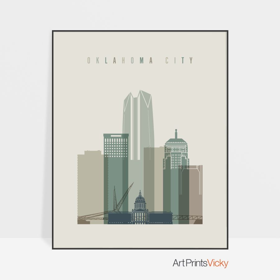 Oklahoma City print skyline earth tones 1