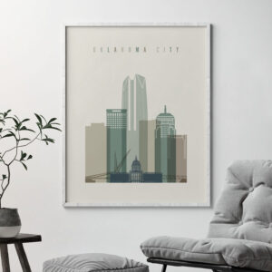 Oklahoma City print skyline earth tones 1 second