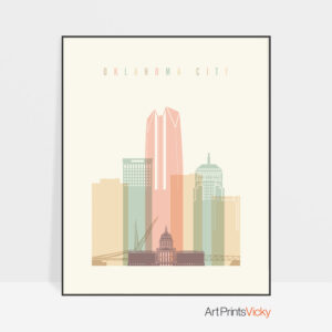 Oklahoma City art print skyline pastel cream