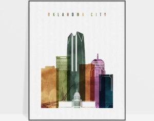 Oklahoma City skyline print watercolor 3