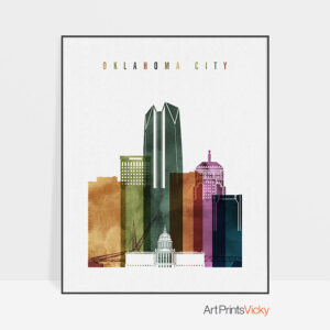 Oklahoma City skyline print watercolor 3