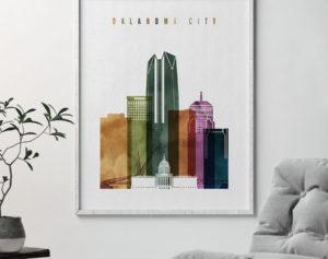 Oklahoma City skyline print watercolor 3 second