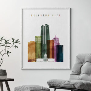 Oklahoma City skyline print watercolor 3 second