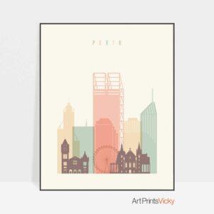 Perth art print skyline pastel cream