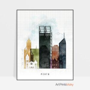 Perth Skyline Print Urban 2
