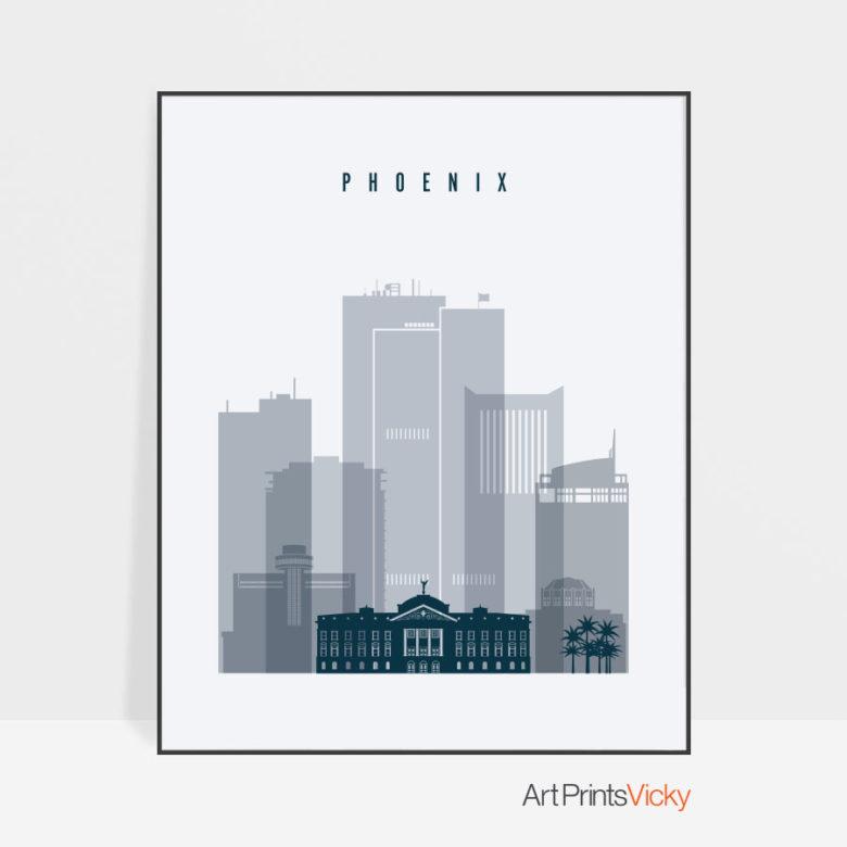 Phoenix skyline poster grey blue