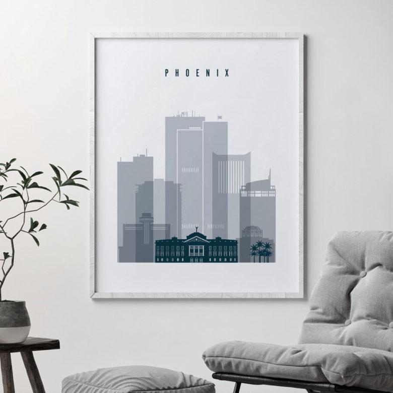 Phoenix skyline poster grey blue second