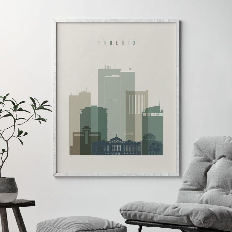 Phoenix print skyline earth tones 1 second