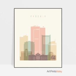 Phoenix art print skyline pastel cream