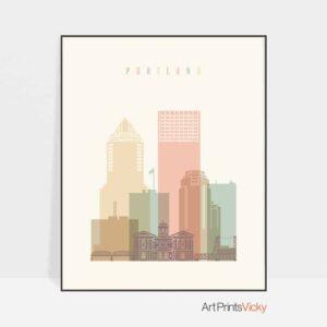 Portland art print skyline pastel cream