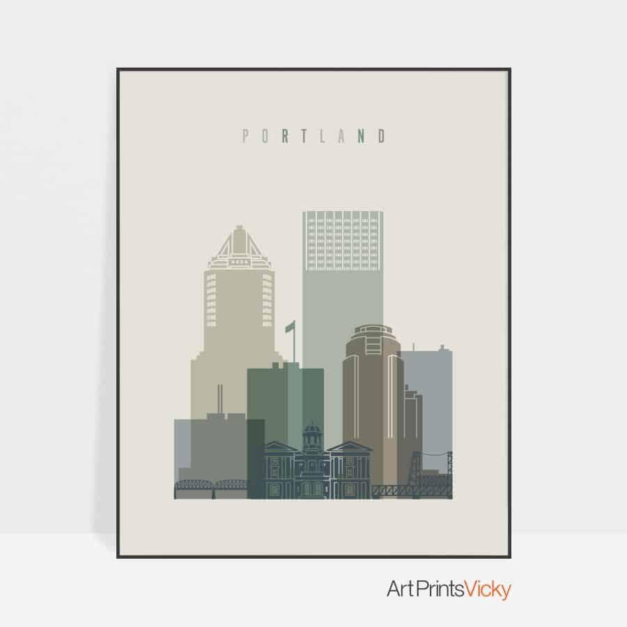 Portland print skyline earth tones 1