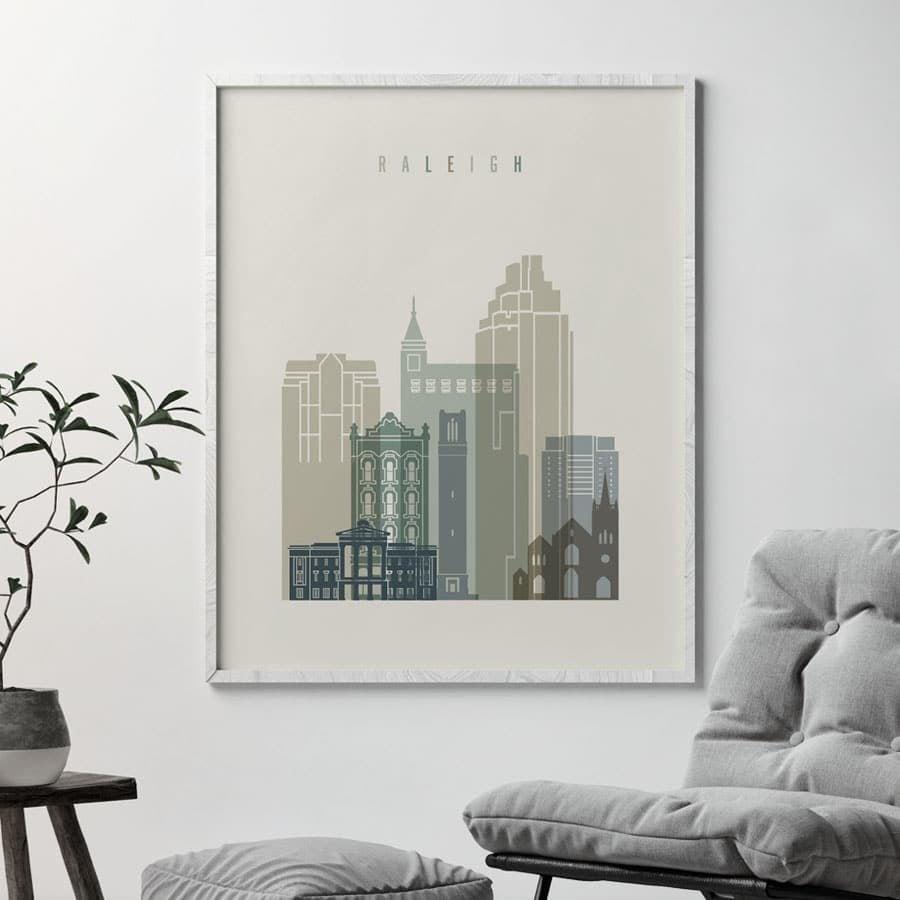 Raleigh print skyline earth tones 1 second