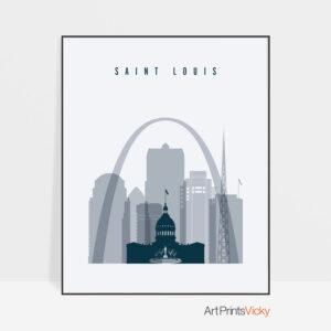 Saint Louis skyline poster grey blue
