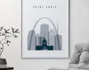 Saint Louis skyline poster grey blue second