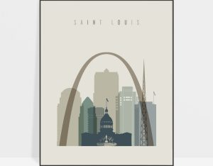 Saint Louis print skyline earth tones 1