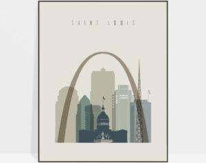 Saint Louis print skyline earth tones 1