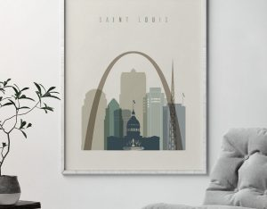 Saint Louis print skyline earth tones 1 second