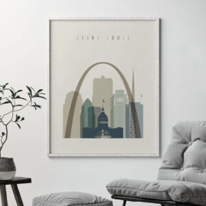Saint Louis print skyline earth tones 1 second