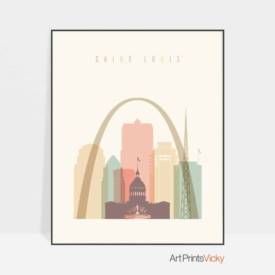 Saint Louis art print skyline pastel cream