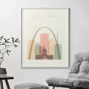 Saint Louis art print skyline pastel cream second