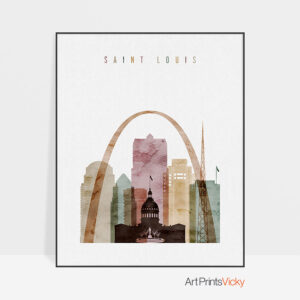Saint Louis skyline print watercolor 1