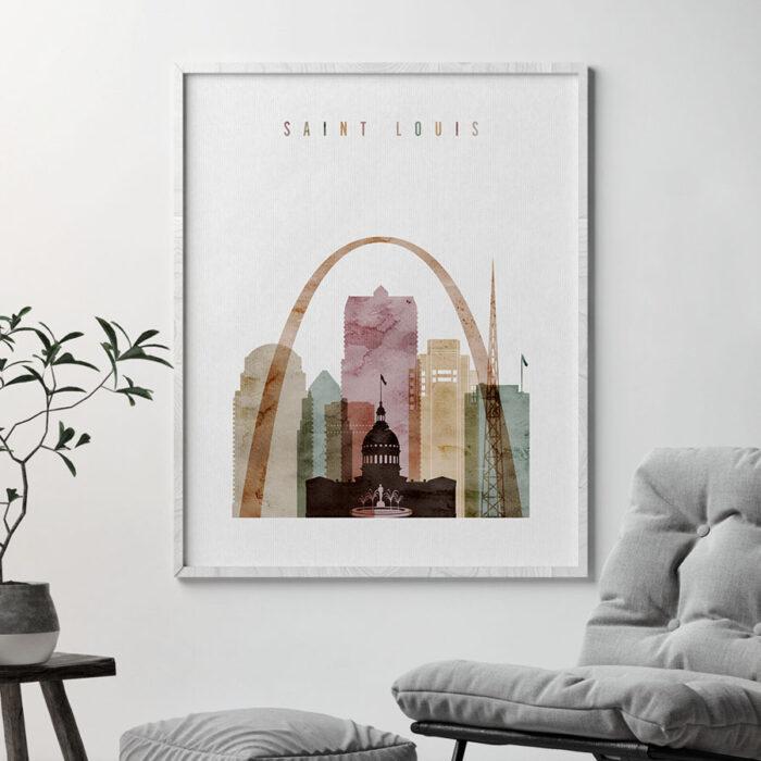 Saint Louis skyline print watercolor 1 second photo