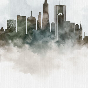 San Francisco cityscape art poster watercolor detail