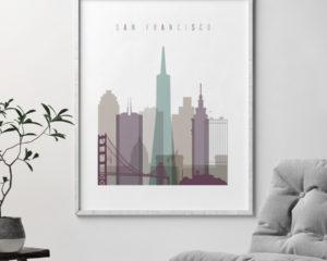 San Francisco print skyline pastel 2 second