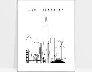 San Francisco skyline black and white print