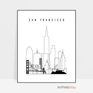 San Francisco skyline black and white print