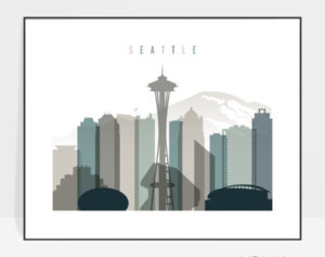Seattle skyline print landscape earth tones 4