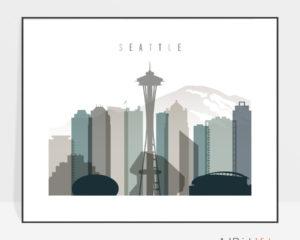 Seattle skyline print landscape earth tones 4
