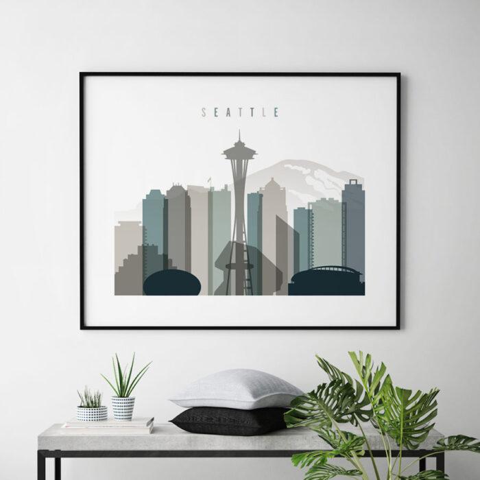 Seattle skyline print landscape earth tones 4 second
