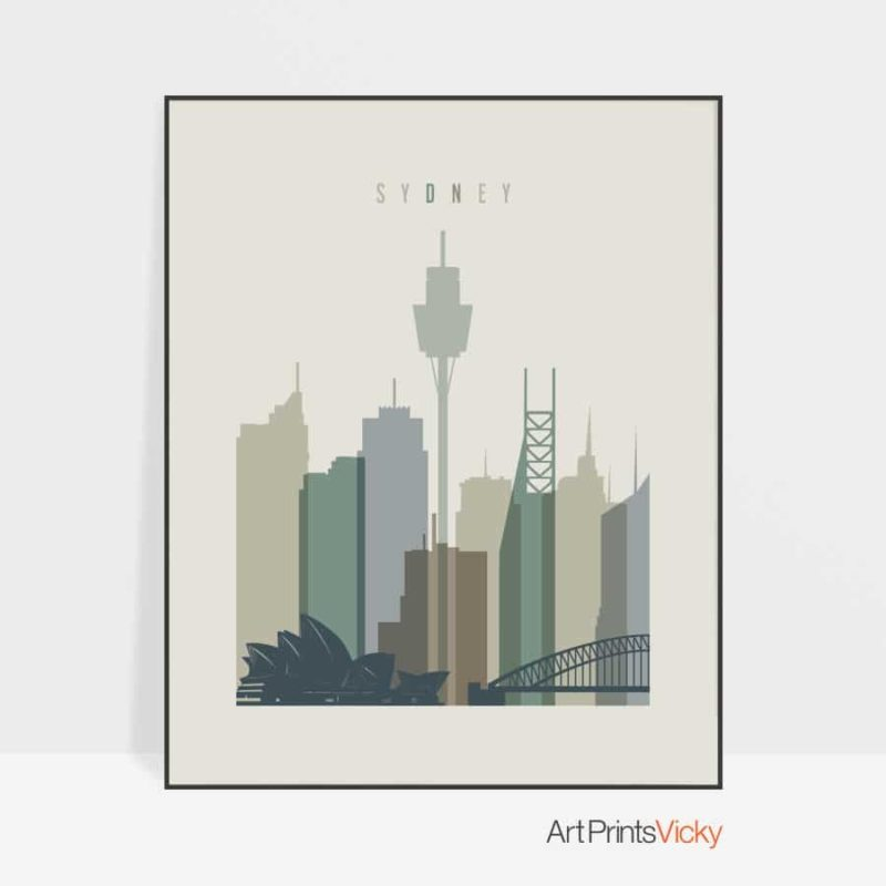 Sydney print skyline earth tones 1