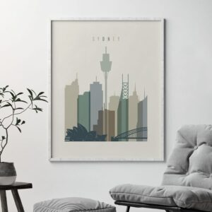 Sydney print skyline earth tones 1 second
