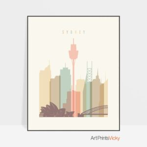 Sydney wall art pastel cream