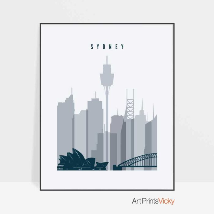 Sydney skyline poster grey blue