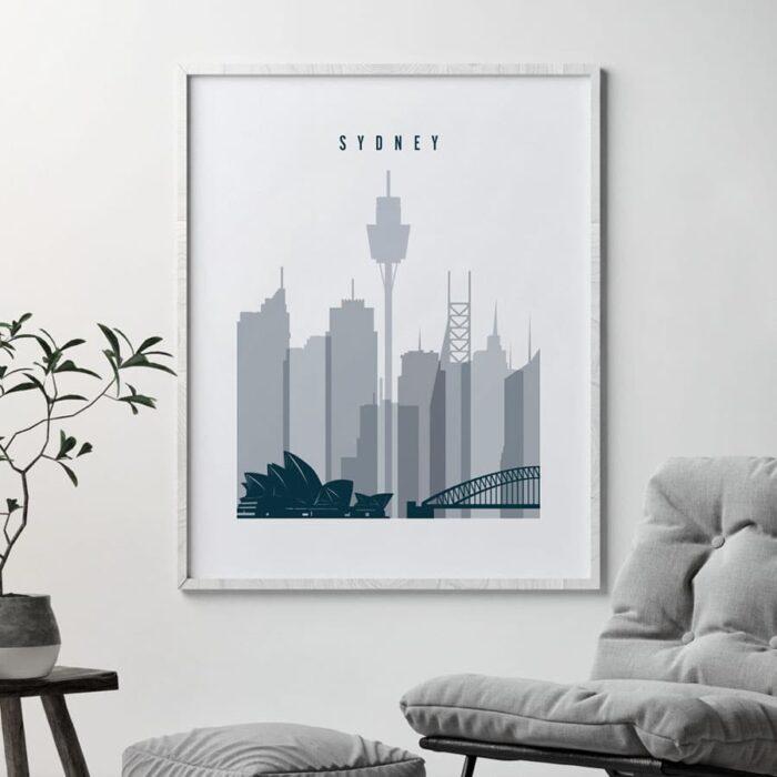 Sydney skyline poster grey blue second
