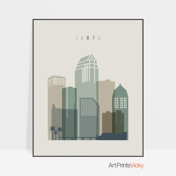 Tampa print skyline earth tones 1
